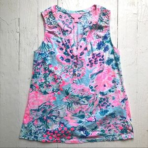 LILLY PULITZER Tropical Fish & Flower Tank Top